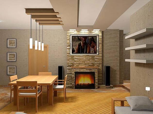 Дизайн интерьера с электрокамином
